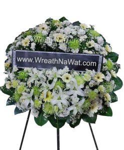 พวงหรีดราคาถูก ดอกไม้โทนสี เขียว-ขาว