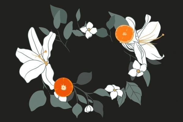 พวงหรีดดอกไม้สีขาว พื้นหลังสีดำ
